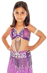 Little Girls Beaded Butterfly Satin Belly Dance Costume Top and Belt Set - PURPLE