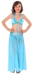 Kids Beaded Satin Belly Dance Costume with Sequin Butterfly Design - TURQUOISE