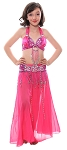 Little Girls Beaded Satin Belly Dance Costume with Sequin Butterfly Design - FUCHSIA
