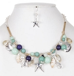 Sealife Themed Mermaid Necklace Set - AQUA