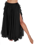 2-Layer Chiffon Belly Dance Skirt with Ruffle Fringe - BLACK