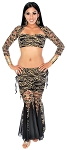 3-Piece Floral Lace Tribal Fusion Outfit - BLACK/ GOLD