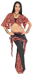 2-Piece Tribal Fusion Belly Dance Lace Pants Set - Black / WINE