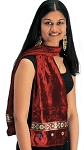 Velvet Shisha Scarf with Sari Trim - ASSORTED