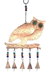 Large Owl Wind Chime with Glass Beads & Iron Bells