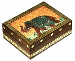 Wood & Stone Ornamental Elephant Zill or Jewelry Box