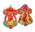 Terracotta Tribal Ganesha Elephant Set
