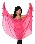 Petite Semi-Circle Chiffon Belly Dance Veil with Sequin Trim - ROSE PINK / GOLD