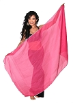 Petite Chiffon Belly Dance Veil with Sequin Trim - ROSE PINK / SILVER