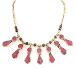 Afghani Tribal Necklace with Geometric Pendants - PINK JADE