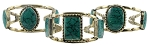 Afghani Kuchi Tribal Cuff Bracelet with Green Turquoise Stone Inlays