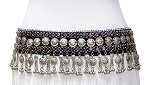 Afghani Kuchi Tribal Belly Dance Belt with Beads, Glass Jewels, Metal Discs and Bells