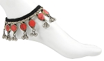Afghani Tribal Anklet with Round Coral Colored Stones & Bell Dangles
