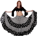 25 Yard Floral Patterned Cotton Tribal Gypsy Dance Skirt - BLACK / WHITE