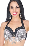 Tribal Belly Dance Bra with Lace, Coins, and Shisha Mirrors - BLACK / SILVER