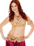 CAIRO COLLECTION: Rhinestone & Crystal Professional Bra & Belt Set From Egypt - MEDIUM NUDE