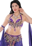 CAIRO COLLECTION: Professional Belly Dance Costume from Egypt - PURPLE FLORAL