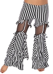 Striped Tribal Fusion Ruffle Bell-Bottom Belly Dance Pants - BLACK / WHITE