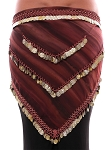 Chiffon Tie Dye Coin Belly Dance Hip Scarf - SANDSTONE / GOLD