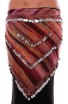 Chiffon Tie Dye Coin Belly Dance Hip Scarf - SANDSTONE / SILVER