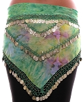 Chiffon Tie Dye Coin Belly Dance Hip Scarf - FRENCH GARDEN / GOLD