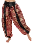 Satin Brocade Tribal Belly Dance Turkish Pantaloon Harem Pants - BURGUNDY / GOLD / BLACK