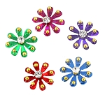 5-Pack of Flower Shaped Bindis / Body Art Tattoos - ASSORTED COLORS