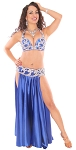 CAIRO COLLECTION: Rhinestone & Crystal Professional Bra & Belt Set From Egypt - METALLIC ROYAL BLUE