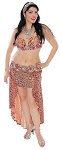 CAIRO COLLECTION: Professional Belly Dance Costume from Egypt - CORAL LEOPARD PRINT