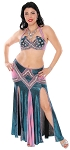 CAIRO COLLECTION: Professional Belly Dance Costume from Egypt - METALLIC TEAL / MAUVE