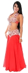 CAIRO COLLECTION: Rhinestone & Crystal Professional Bra & Belt Set with Matching Skirt From Egypt - RED / AB CRYSTAL