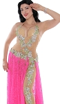 CAIRO COLLECTION: Professional Belly Dance Costume from Egypt - HOT PINK & LIGHT NUDE