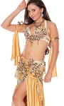 CAIRO COLLECTION: Professional Belly Dance Costume from Egypt - ANTIQUE GOLD FLORAL