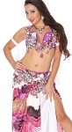 CAIRO COLLECTION: Professional Belly Dance Costume from Egypt - FUCHSIA / WHITE FLORAL