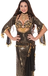 CAIRO COLLECTION: Egyptian Beledi Dress / Saidi Dress - BLACK / GOLD