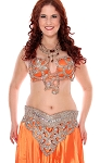 CAIRO COLLECTION: Rhinestone & Crystal Professional Bra & Belt Set From Egypt - ORANGE / SILVER