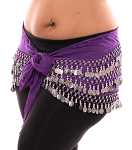 1X - 4X Plus Size Chiffon Belly Dance Hip Scarf with Coins - PURPLE GRAPE / SILVER
