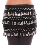 3-Row Straight Design Classic Belly Dance Coin Hip Scarf - BLACK / SILVER