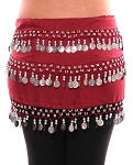 3-Row Straight Design Classic Belly Dance Coin Hip Scarf - RED ROSE / SILVER