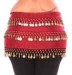 1X - 4X Plus Size Chiffon Belly Dance Hip Scarf Sash with 3 Rows of Coins - RED ROSE / GOLD
