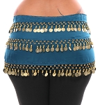 1X - 4X Plus Size Chiffon Belly Dance Hip Scarf Sash with 3 Rows of Coins - TEAL BLUE / GOLD