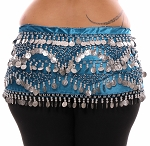 1X - 4X Plus Size VELVET Belly Dance Coin Hip Scarf Belt - TEAL BLUE / SILVER