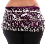 1X - 4X Plus Size VELVET Belly Dance Coin Hip Scarf Belt - DEEP PURPLE / SILVER