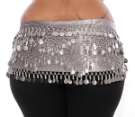 1X - 4X Plus Size VELVET Belly Dance Coin Hip Scarf Belt - SILVER GREY / SILVER