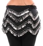 1X - 4X Plus Size Long Belly Dance Zig-Zag Coin Hip Scarf Skirt - BLACK / SILVER