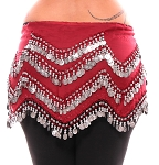 1X - 4X Plus Size Long Belly Dance Zig-Zag Coin Hip Scarf Skirt - RED ROSE / SILVER