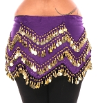 1X - 4X Plus Size Long Belly Dance Zig-Zag Coin Hip Scarf Skirt - PURPLE GRAPE / GOLD
