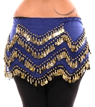 1X - 4X Plus Size Long Belly Dance Zig-Zag Coin Hip Scarf Skirt - BLUE / GOLD