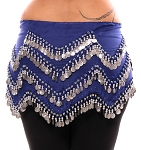 1X - 4X Plus Size Long Belly Dance Zig-Zag Coin Hip Scarf Skirt - BLUE / SILVER