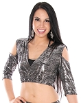 Metallic Open Shoulder Half Top Choli - LIQUID SILVER